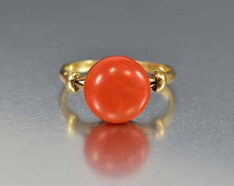 Down Payment Antique 18K Gold Coral Ring, Red Coral Solitaire Edwardian Engagement Ring, Orange Stone Boho Stacking Ring
