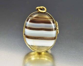 Banded Agate Locket Pendant, Victorian Gold Locket, Antique Locket Fob Charm, Antique Victorian Locket Heirloom Sentimental Jewelry