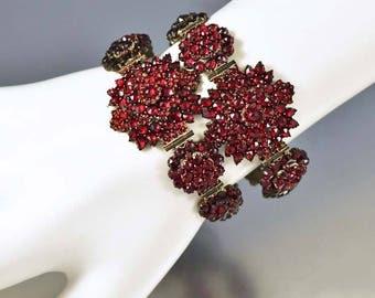 Antique Victorian Garnet Bracelet Set | Victorian Wedding Bracelet w Fitted Case | Antique Gold Bohemian Garnet Bangle Bracelet
