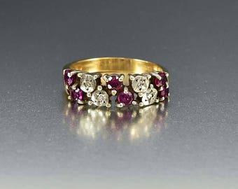 Vintage Ruby and Diamond Ring |  Gold Wedding Band Ring | English Natural Ruby Ring | July Birthstone | Stacking Ring | Vintage Ruby Ring