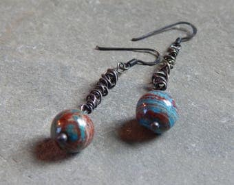 Tangled Sterling Silver with Calsilica Jasper Beads Dangle Earrings, brown and blue beads, brown and blue stones, oxidized sterling silver