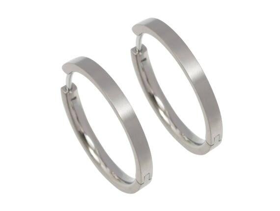 24mm natural pure titanium hoop earrings, 100% Hypoallergenic, Sensitive ear