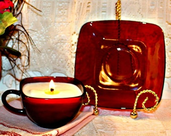 Soy Wax Vintage Ruby Red Square Tea Cup Candle,Depression Glass,Homemade,YOUR SCENT CHOICE,Hand Poured,Blood Glass,Ruby Red Cup and Saucer