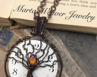 Tree Of Life Recycled Pocket Watch Necklace,Free Shipping, Christmas, Birthday, Anniversary Gift, Inspirational Jewelry