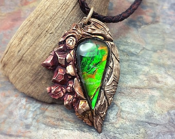 Bronze PMC and Vivid Ammolite Necklace! Ready to Ship
