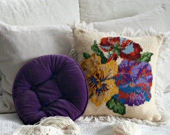 Vintage Needlepoint Pillow | Floral Accent Pillow
