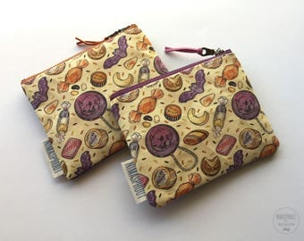 Halloween Themed - Small Fabric Pouch (Orange or Purple Zipper)