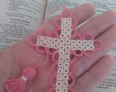 SALE Easter Pink & Creamy Ecru Bible Bookmark Tatted Cross Handmade Tatting