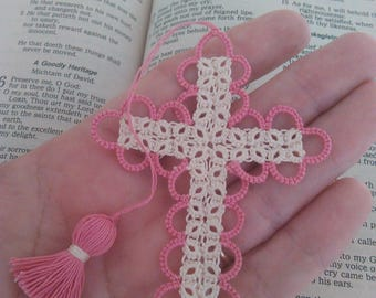 Pink & Creamy Ecru Bible Bookmark Tatted Cross Handmade Tatting