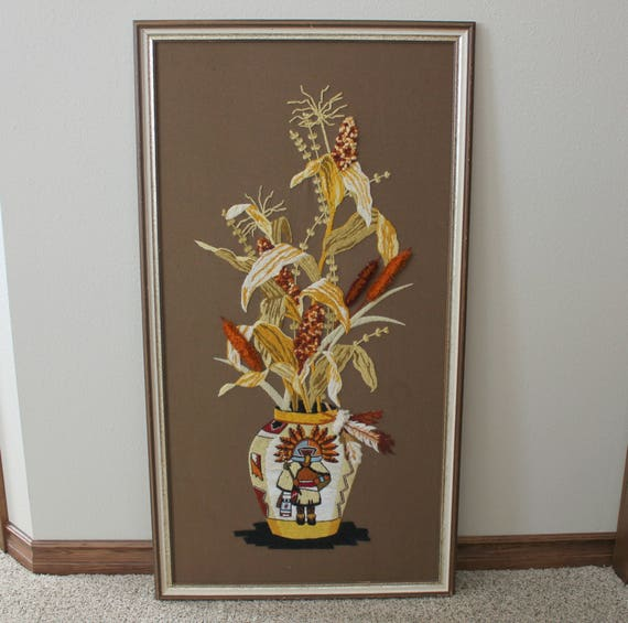 Vintage Harvest Fall Crewel Embroidery, Native American Cochina on Vase with Floral Arrangement Yarn Art