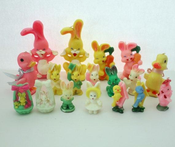 Lot 18 Vintage Gurley Candles, Easter Bunny Rabbit, Ducks, Spring Chicks, Birds, Baskets