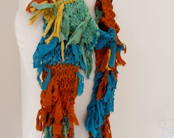 recycled silk  chiffon boho chic little tattered scarf  green teal rust gold  handknitted by plumfish