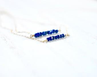 tiny lapis lazuli bar necklace. tiny lapis beads. bar necklace. minimalist jewelry. lapis jewelry. mother daughter lapis bar necklaces