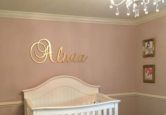 Gold Nursery Name Sign - Baby &  Kids Nursery Decor - Wall Letters for Boy and Girl Nursery - GLITTER Letters - Wood Letters - Nursery Decor