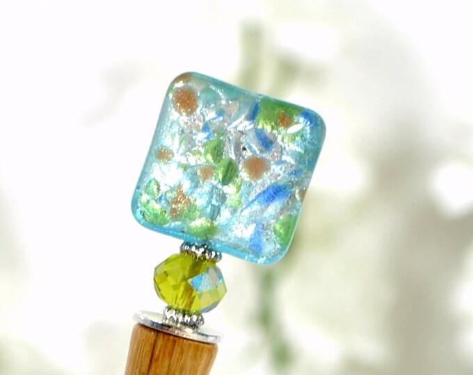 "Blue Green Hair Stick Handmade Bun Pin Hairstick - ""Yvaine"""