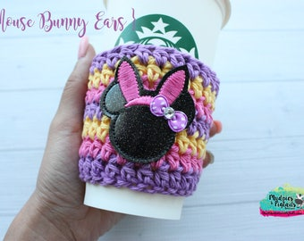 Easter Crochet Coffee Cup Holder { Mouse Bunny Ears } candy marshmallow, cup cozy, knit mug sweater, starbucks gift, frappuccino holder