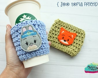 Coffee Cup Cozy { Zootopia } judy hopps, nick fox, tsum tsum inspired, park essential summer Coffee sleeve, starbucks cup birthday