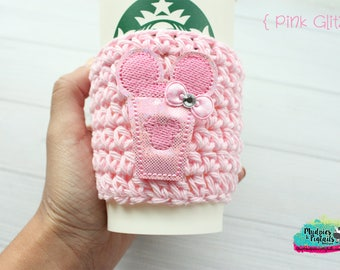 Coffee Cup cozy { Pink Glitz } Minnie frappe, pink glitter, Summer Coffee frappuccino sleeve, holographic, birthday gift, millennial pink