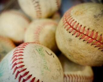 Vintage Baseballs Fine Art Print- Vintage, Nostalgic, Boys Room, Sports, Softball, Photography, Gift, League, Play
