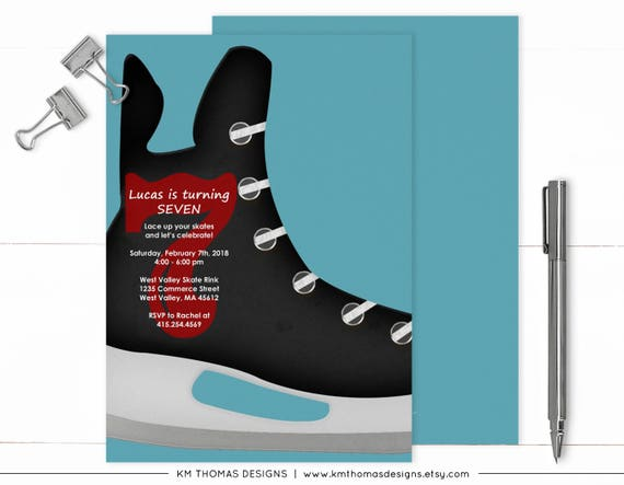 Hockey Birthday Invitation Ice Hockey Party Hockey Invitation Boy