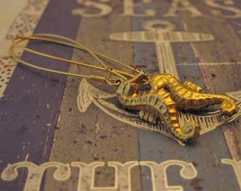 Golden Seahorse Earrings Raw Brass Sea Horse Jewelry Beach Earrings Gold Jewelry Ocean Creature Seahorse Handmade Gift for a Mermaid Fish