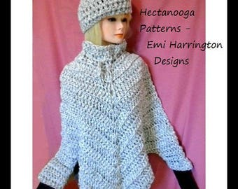 crochet pattern- poncho with sleeves, cape with sleeves, teens and women's clothing, hat and poncho, #2069