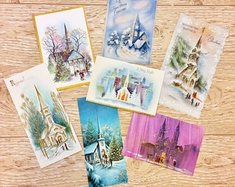 7 Vintage Christmas Church Cards, Religious Christmas Cards, 1950s-1960s Christmas Churches: Set #2