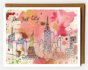 New York City Card, Blank Card, NYC Souvenir, nyc Lover, New York Skyline, Single Cards, Statue of Liberty, NYC Skyline, Fun NYC Card, Pink