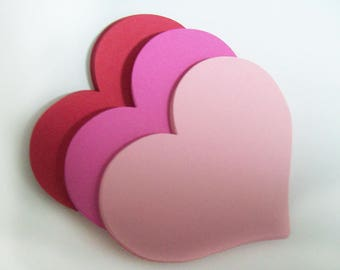 Pink Paper Hearts - Heart Die Cuts - Pink and Red Wedding Hearts - Valentine Hearts - Cardstock Hearts - Paper Heart Cutouts - Valentine DIY