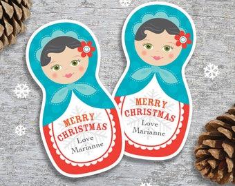 Personalized Christmas Gift Tags or Stickers – DIY Printable – Babushka Doll (Digital File)