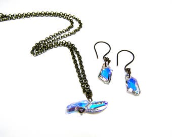ON SALE Crystal Pendant Earrings Set  Wave Pendant DeArt Earrings Gifts for Women Crystal Pendant Crystal Earrings Top Selling Jewelry