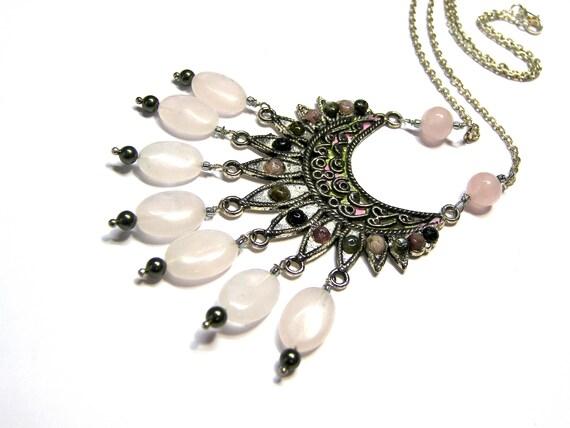 Bohemian Rose Quartz Pendant Tourmaline Pendant Gift for Women Top Selling Jewelry Rose Quartz Pendant