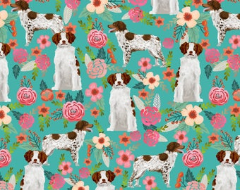 Brittany Spaniel Florals Fabric - Spaniel Cute Painted Floral Sporting Dog By Petfriendly - Cotton Fabric by the Yard with Spoonflower