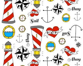 Tattoo Sailor Fabric - Tattoo Sailor By Bubcub - Summer Sailor Beach Decor Cotton Fabric By The Yard With Spoonflower