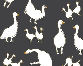 Geese Fabric - Birds Blue By Lburleighdesigns - Summer Birds Nursery Decor Cotton Fabric By The Yard With Spoonflower