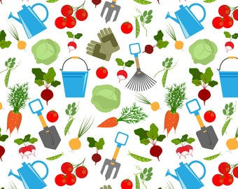 Vegetable Garden Fabric - Vegetable Garden By Minyanna- Vegetable Garden Farm Food Veggies Farmer Cotton Fabric By The Yard With Spoonflower