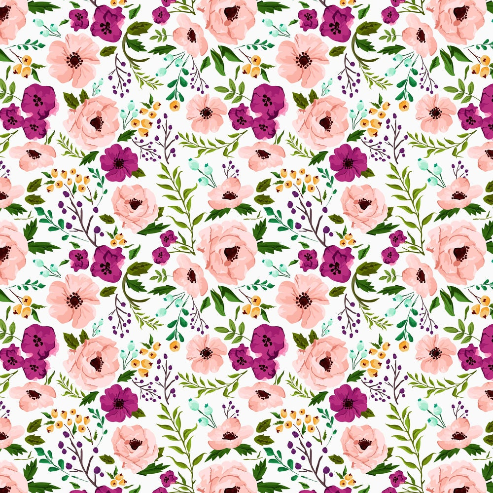 Pink watercolor flower fabric josie meadow floral by for Floral nursery fabric