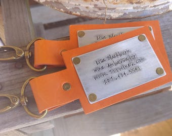 Custom Hand Stamped Business Advertising Leather Luggage Tag In 10 Colors Slate, Brown, Tan, Camel, Red, Blue, Orange, Pink by MyBella