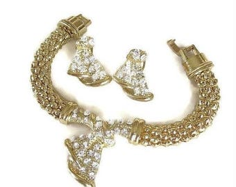 Mesh Rhinestone Bracelet and Earrings Set Vintage