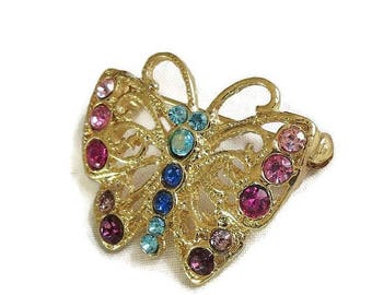 SALE Vintage Butterfly Brooch with Multi-Color Rhinestones