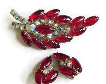 SALE Red Rhinestone Leaf Brooch and Earrings Set Aurora Borealis Vintage