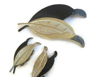 SALE Black Enamel & Silver Tone Leaf Brooch and Earrings Set Vintage