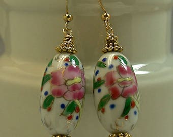 Vintage Chinese White Porcelain Bead Dangle Drop Pink Rose Long Oval Blue Green Earrings, Gold French Ear Wires- GIFT WRAPPED JEWELRY