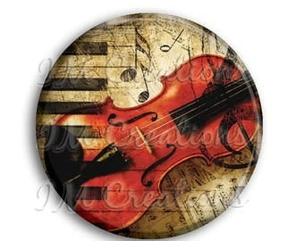 """25% OFF - Violin Piano Collage Pocket Mirror, Magnet or Pinback Button - Wedding Favors, Party themes - 2.25"""" MR504"""