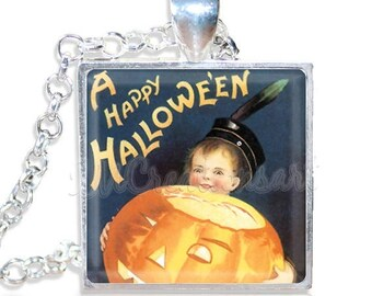 "20% OFF - Halloween Vintage Boy with Pumpkin 1"" Square Glass Pendant or with Necklace - SQ111"