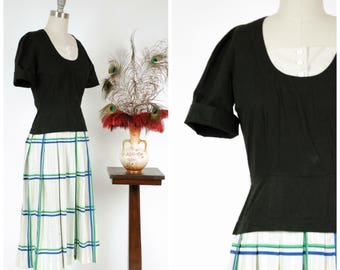 Vintage 1950s Dress - Smart Cotton 50s Day Dress with Pleated Green, Blue and White Plaid Skirt and Fitted Black Bodice