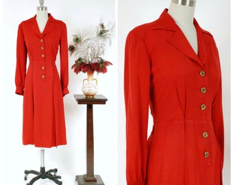 RESERVED ON LAYAWAY - Vintage 1940s Dress - Striking Cherry Red Rayon Gabardine 40s Dress with Bold Golden Buttons