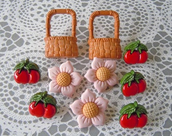 Realistic Sewing Buttons Lot Pink Flowers Red Cherries Wicker Baskets