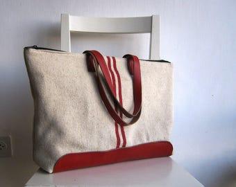 Vintage Grain Sack Tote - Red Stripes