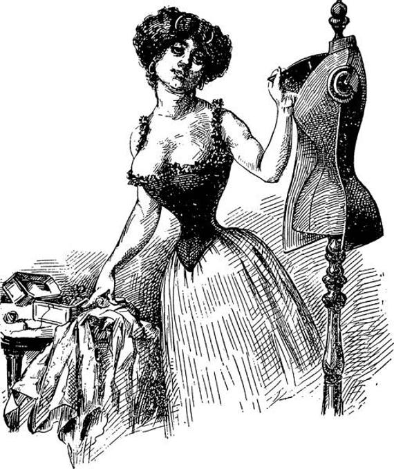 """womans seamstress corset mannequin png clipart printable art Digital graphics download  image sewing illustration 8.5"""" x 10.2"""""""